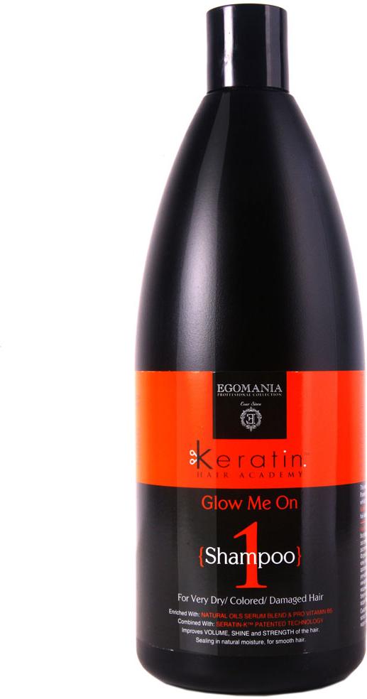 Egomania Professional Collection Шампунь Keratin Hair Academy Во всем блеске! для очень сухих, окрашенных и поврежденных волос 1000 мл830190Шампунь для мягкого очищения волос, богатый маслами и активными компонентами, подходит для сухих, окрашенных, поврежденных, истонченных и нормальных волос. Шампунь эффективно очищает волосы и кожу головы, растворяет силиконы за счет содержания в составе сока лимона.