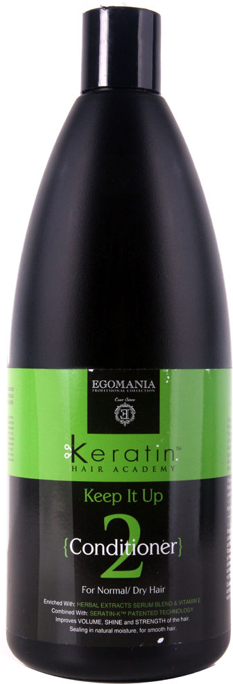 Egomania Professional Collection Кондиционер Keratin Hair Academy Все под контролем!для нормальных и сухих волос 1000 мл830213Обогащенный маслами и активными компонентами кондиционер увлажняет и питает нормальные и сухие волосы, обеспечивая шикарный вид волос до следующего применения.Это настоящий энергетический коктейль для волос из витаминов, масел и аминокислот. При каждом использовании кондиционера волосы получают необходимую дозу активных компонентов для здорового вида и блеска волос.