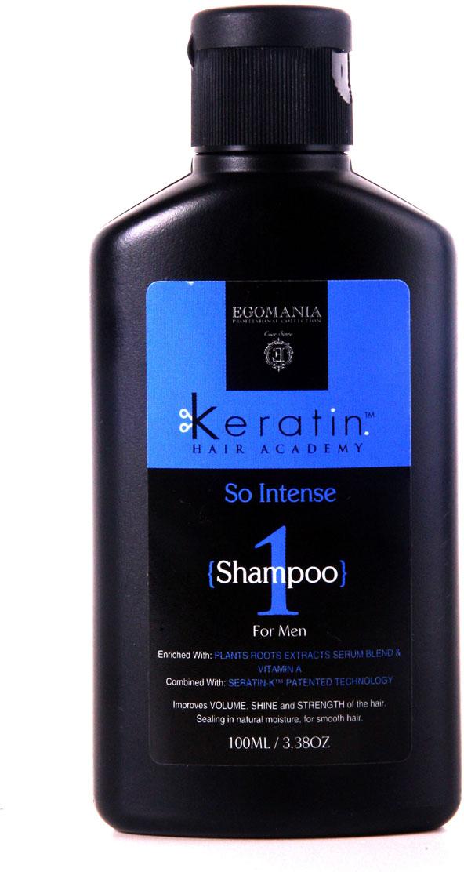 Egomania Professional Collection Шампунь Keratin Hair Academy «Энергетический заряд» для мужчин 100 мл830701Шампунь для мягкого очищения волос, богатый маслами и активными компонентами, подходит для всех типов волос.Шампунь эффективно очищает волосы и кожу головы, растворяет силиконы, за счет содержания в составе продукта сока лимона.