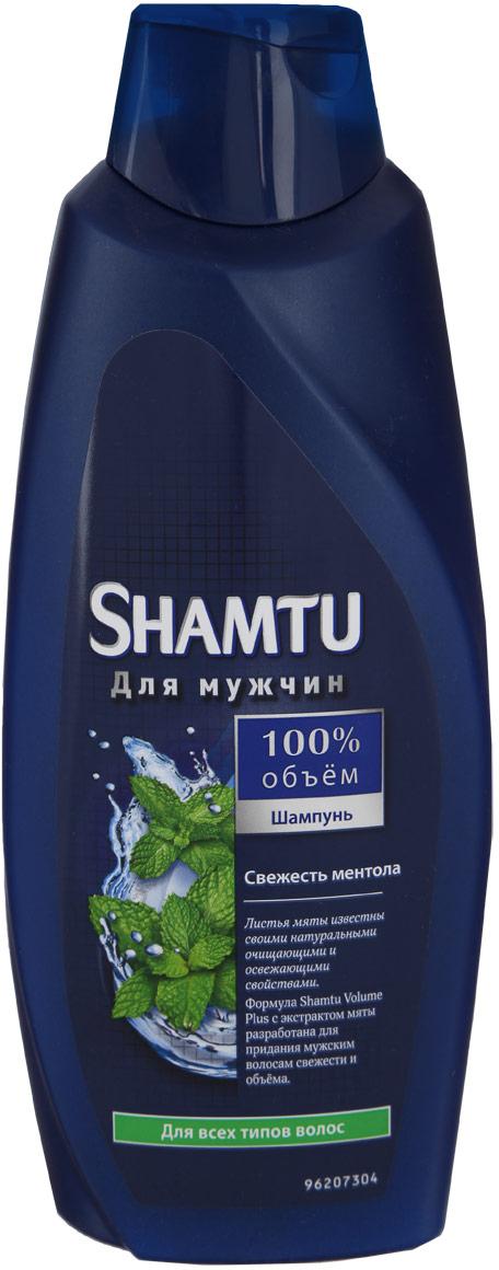 """Shamtu Шампунь """"100% объем. Свежесть ментола"""" для мужчин, для всех типов волос, 650 мл"""