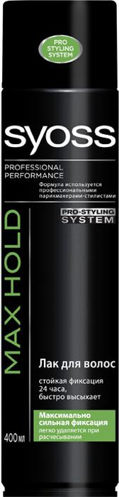 Лак для волос Syoss Max Hold, максимально сильная фиксация, 400 мл9034801Лак для волос Syoss Max Hold - максимально сильная и стойкая фиксация даже для самых сложных причесок.Максимальный контроль стайлинга. Без склеивания, не оставляет следов, легко удаляется при расчесывании. Не утяжеляет