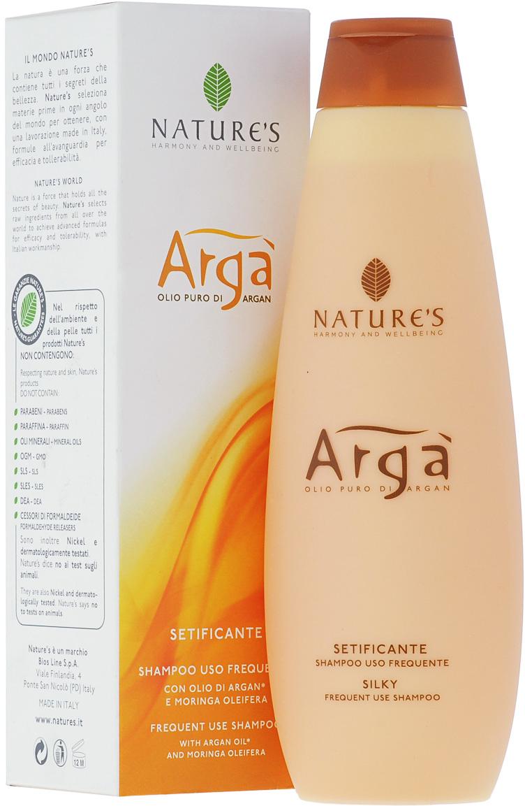 Шампунь Natures Arga, для частого использования, 200 мл60150921Шампунь Natures Arga рекомендуется для ухода за поврежденными, слабыми, тонкими волосами. Шампунь обладает восстанавливающим, антистрессовым эффектом. Питает, увлажняет, наполняет волосы силой, оставляя их мягкими, шелковистыми и сияющими. Тонизирует и успокаивает кожу головы. Благодаря эфирному маслу лицеи, придает приятное ощущение свежести и благополучия. Предназначен для частого использования.Характеристики:Объем: 200 мл.Производитель: Италия. Артикул:60150903. Товар сертифицирован.