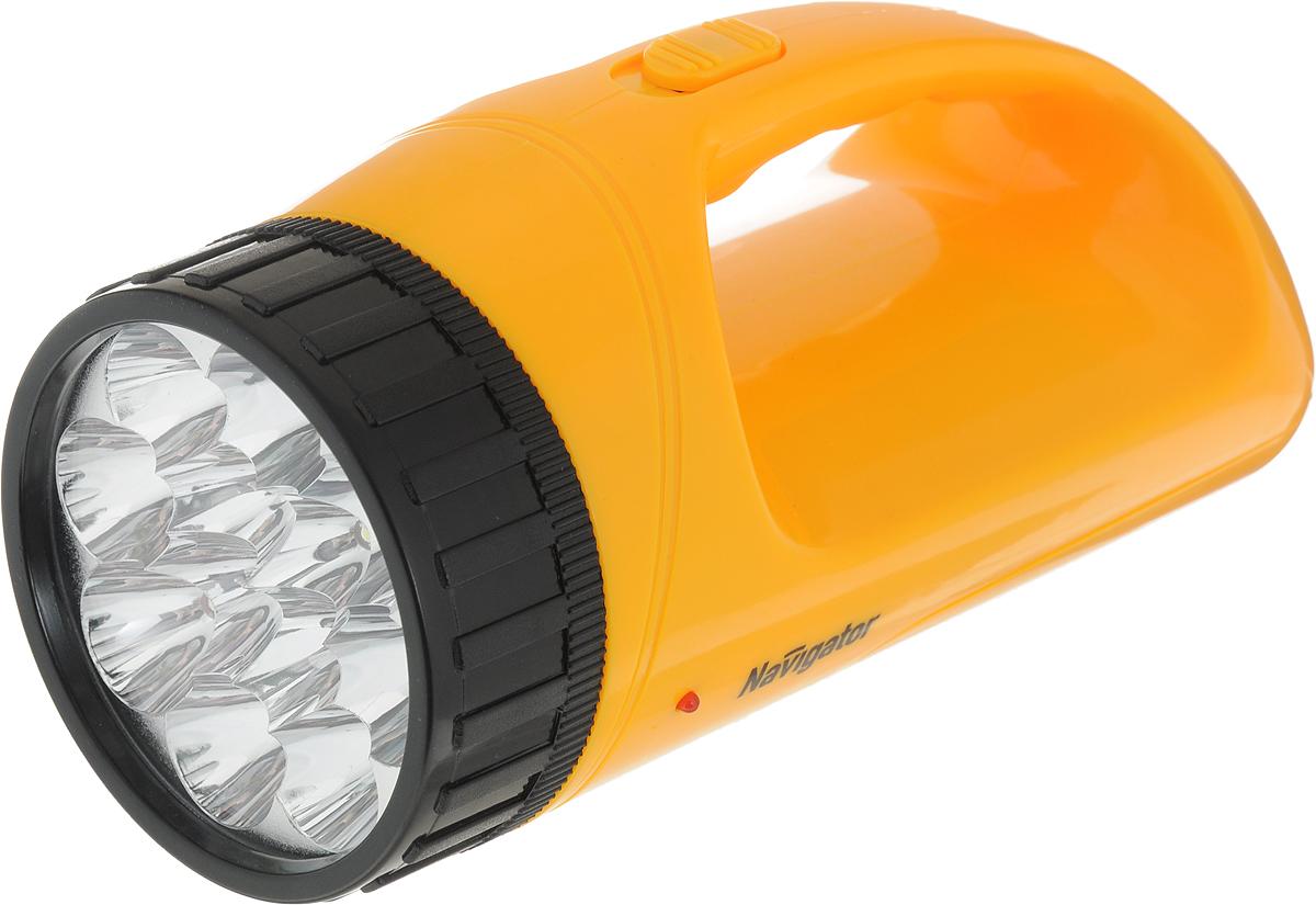 Фонарь-прожектор светодиодный Navigator 94 783 NPT-SP13-ACCU, кемпинговый4607136947832Фонарь-прожектор светодиодный Navigator 94 783 NPT-SP13-ACCU - это небольшой, носимый источник света для индивидуального использования на открытой местности и в помещениях. Технические характеристики:Материал корпуса: ABS-пластик.Источник света: светодиод.18 светодиода в прожекторе.12 светодиодов в плафоне.2 режима работы: прожектор (18 LED), 12 LED в плафоне.Свинцово-кислотный аккумулятор 4 В, 1,1 А/ч.Подзарядка: от сети 220 В До 7 часов работы без подзарядки (в режиме прожектора 9 LED).Дальность освещения: до 50 м.
