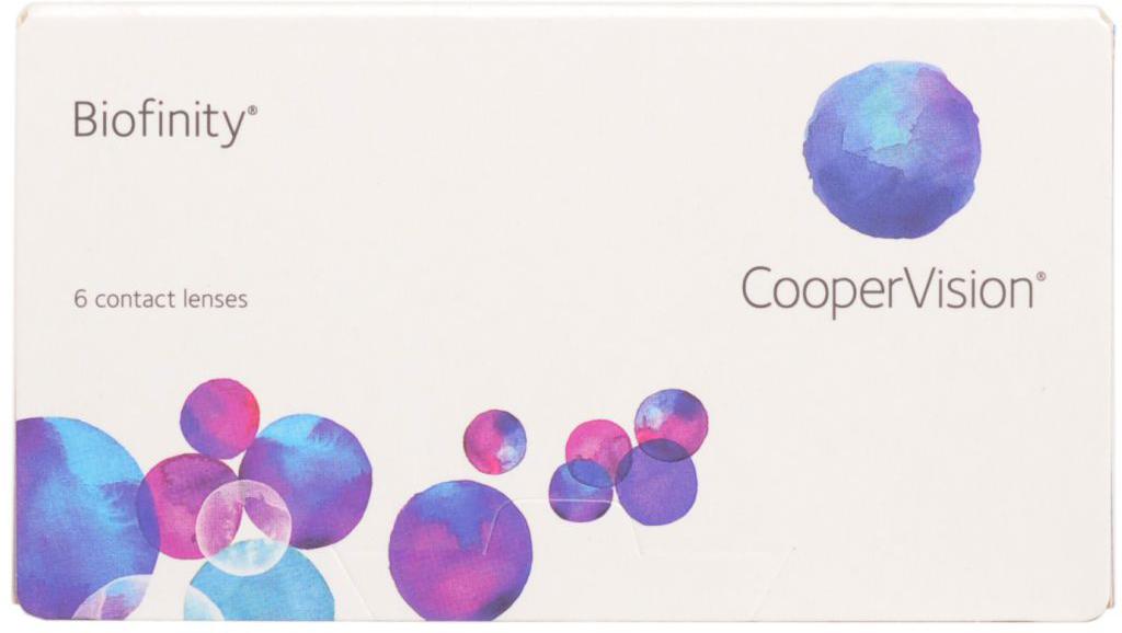 CooperVision Контактные линзы Biofinity (6pack)/Радиус кривизны 8,6/Оптическая сила +05,00ФМ000002067Biofinity-cиликон-гидгогелевые линзы для пациентов,требующих большего от контактных линз.Biofinity- это силикон –гидрогелевый материал,созданный по технологии Aquaform Comfort Science,представляющий собой сочетание уникальной технологии и улучшенной геометрии линз.Что получаете вы в результате ношения линз Biofinity? -без применения увлажняющих агентов,обработки поверхности линз,создается увлажненная поверхность,повышая комфорт при ношении и сводя к минимуму отложения на поверхности линзы -высокая кислородная проницаемость обеспечивает более здоровое ношение,даже если в с пите в линзах постоянно или переодически -уникальная оптика линз улучшает качество зрения,минимизируя сферические абберации(искажения),присущие глазуКонтактные линзы или очки: советы офтальмологов. Статья OZON Гид