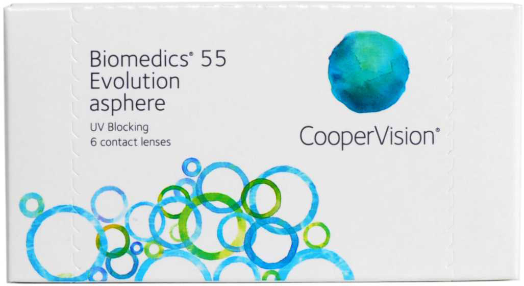 CooperVision Контактные линзы Biomedics 55 Evolution (6 pack)/Радиус кривизны 8,9/Оптическая сила -01,75