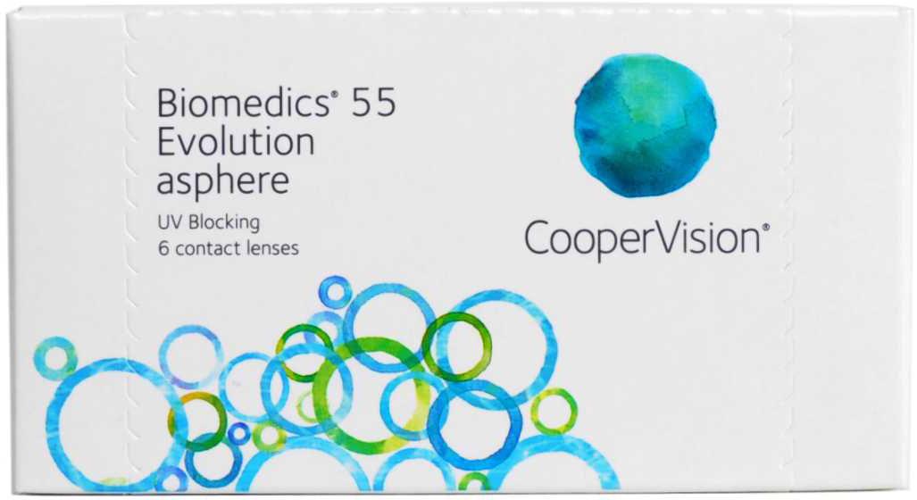 CooperVision Контактные линзы Biomedics 55 Evolution (6 pack)/Радиус кривизны 8,9/Оптическая сила -06,00