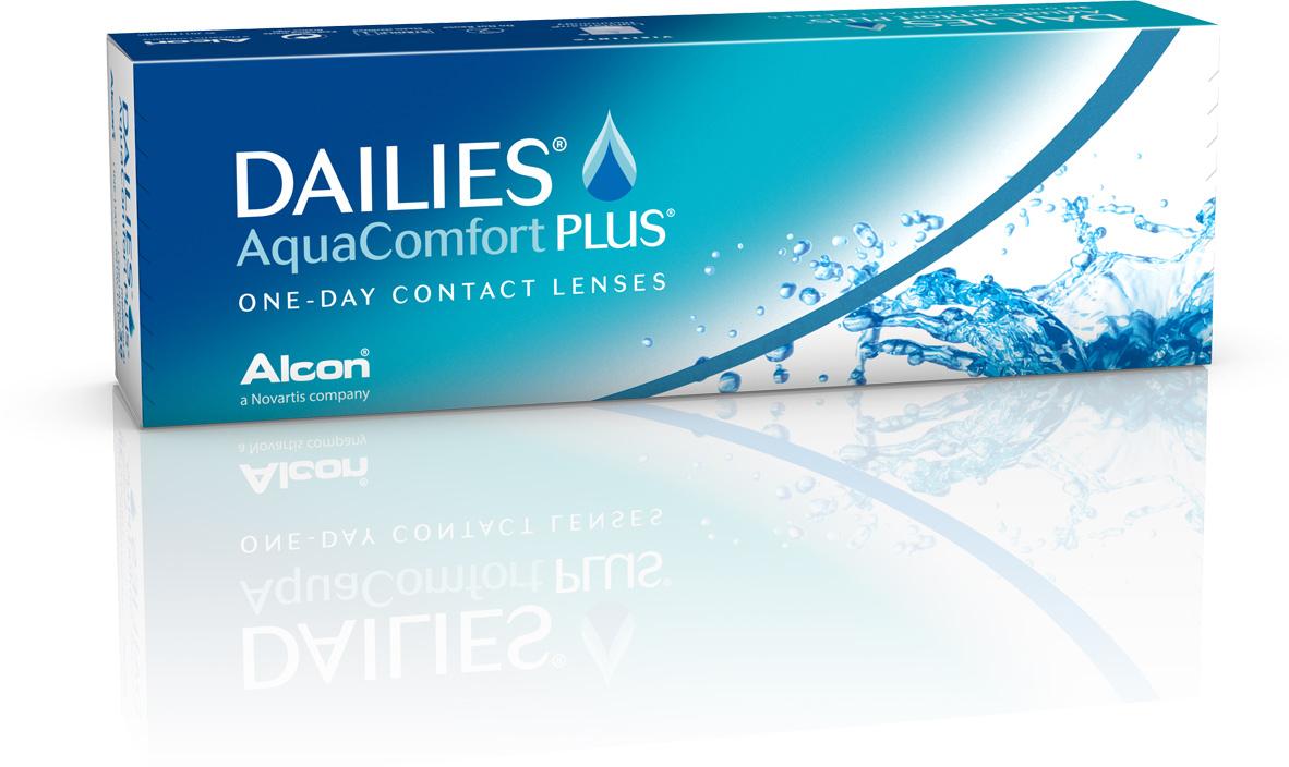 Alcon-CIBA Vision контактные линзы Dailies AquaComfort Plus (30шт / 8.7 / 14.0 / -2.75)31050Dailies AquaComfort Plus - это одни из самых популярных однодневных линз производства компании Ciba Vision. Эти линзы пользуются огромной популярностью во всем мире и являются на сегодняшний день самыми безопасными контактными линзами. Изготавливаются линзы из современного, 100% безопасного материала нелфилкон А. Особенность этого материала в том, что он легко пропускает воздух и хорошо сохраняет влагу. Однодневные контактные линзы Dailies AquaComfort Plus не нуждаются в дополнительном уходе и затратах, каждый день вы надеваете свежую пару линз. Дизайн линзы биосовместимый, что гарантирует безупречный комфорт. Самое главное достоинство Dailies AquaComfort Plus - это их уникальная система увлажнения. Благодаря этой разработке линзы увлажняются тремя различными агентами. Первый компонент, ухаживающий за линзами, находится в растворе, он как бы обволакивает линзу, обеспечивая чрезвычайно комфортное надевание. Второй агент выделяется на протяжении всего дня, он непрерывно смачивает линзы. Третий - увлажняющий агент, выделяется во время моргания, благодаря ему поддерживается постоянный комфорт. Также линзы имеют УФ-фильтр, который будет заботиться о ваших глазах. Dailies AquaComfort Plus одни из лучших линз в своей категории. Всемирно известная компания Ciba Vision, создавая эти контактные линзы, попыталась учесть все потребности пациентов и ей это удалось! Характеристики:Материал: нелфилкон А. Кривизна: 8.7. Оптическая сила: - 2.75. Содержание воды: 69%. Диаметр: 14 мм. Количество линз: 30 шт. Размер упаковки: 15,5 см х 5 см х 3 см. Производитель: США. Товар сертифицирован.Контактные линзы или очки: советы офтальмологов. Статья OZON Гид