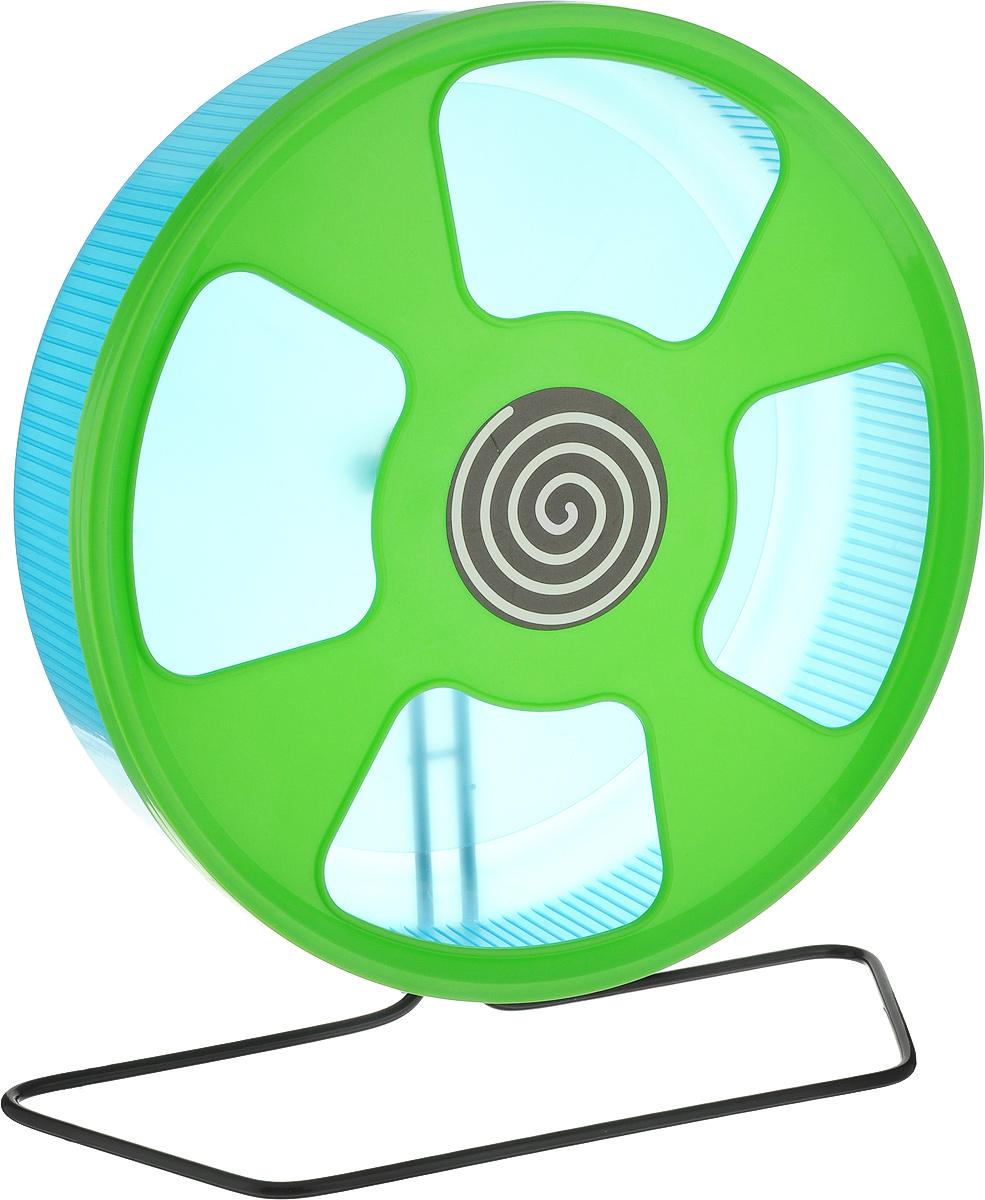 Колесо для грызунов  Trixie , на подставке, цвет: голубой, салатовый, диаметр 28 см
