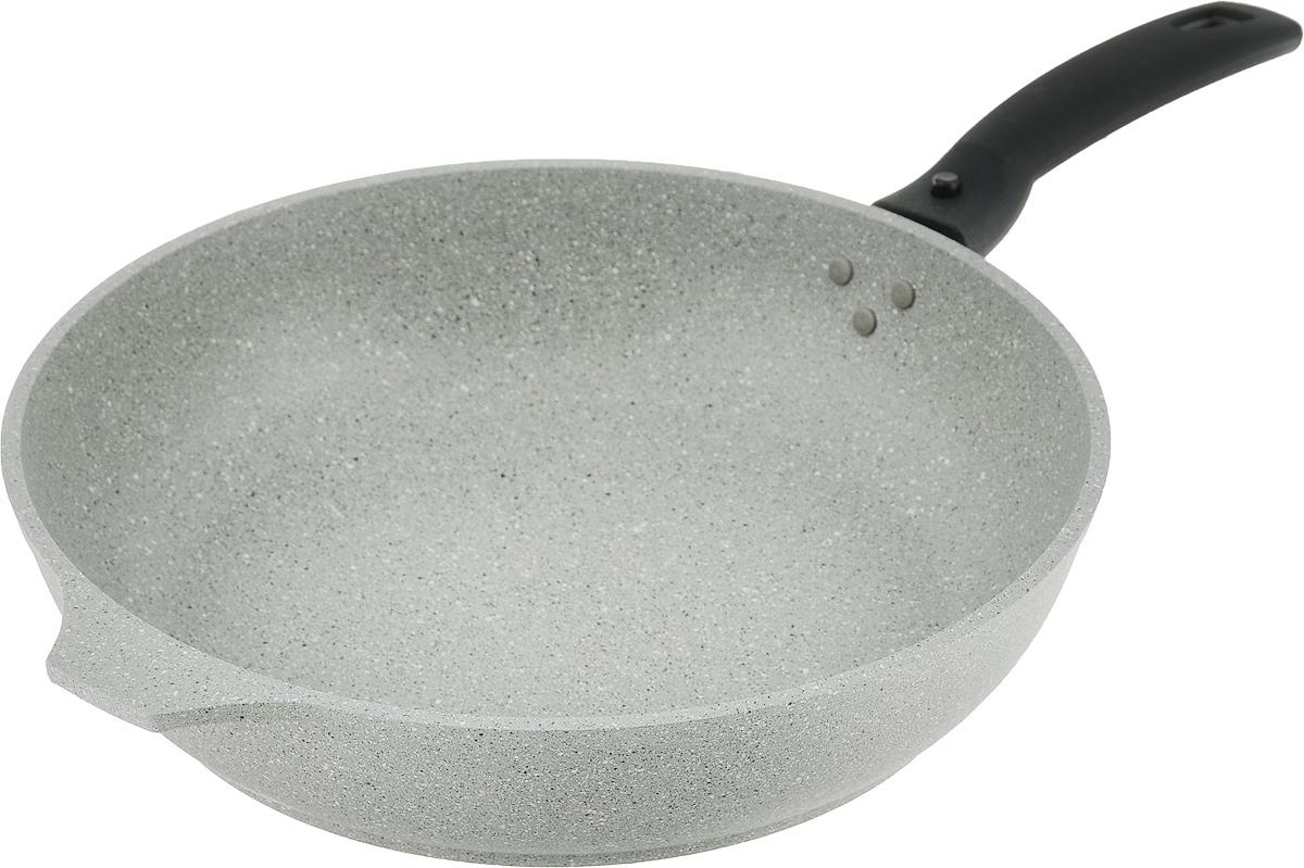 """Сковорода """"Kukmara"""" изготовлена из литого алюминия с  антипригарным мраморным покрытием. Утолщенные  дно и стенки такой посуды быстро и равномерно  распределяют тепло. Алюминий не содержит  вредных примесей, что способствует здоровому и экологичному  приготовлению пищи. Изделие оснащено съемной ручкой для  удобной переноски.  Подходит для газовых, электрических и стеклокерамических  плит. Не подходит для индукционной плиты. Можно мыть в  посудомоечной машине.  Диаметр: 26 см. Высота стенки: 6 см."""