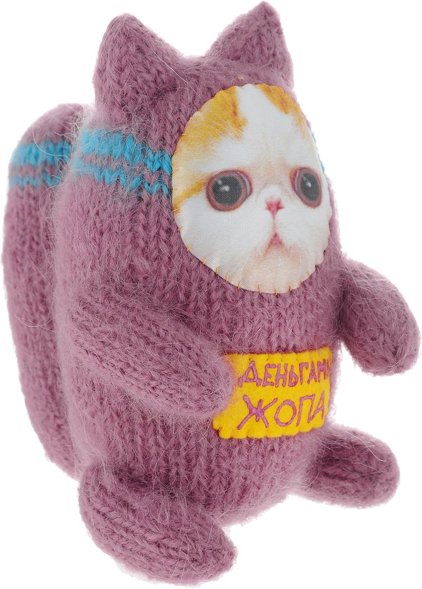 Мягкая игрушка Бюро находок Котик. С деньгами Ж, цвет: темно-красный мягкая игрушка бюро находок котик скотина цвет коричнево красный