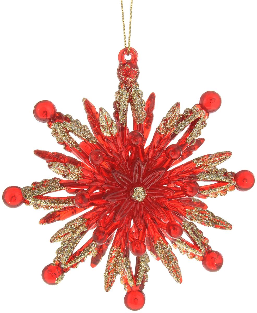 Яркая снежинка красного цвета отличается золотыми блестками, рассыпанными по ее лучам и создающими эффект искр. Новогодние украшения всегда несут в себе волшебство и красоту праздника. Создайте в своем доме атмосферу тепла, веселья и радости, украшая его всей семьей.