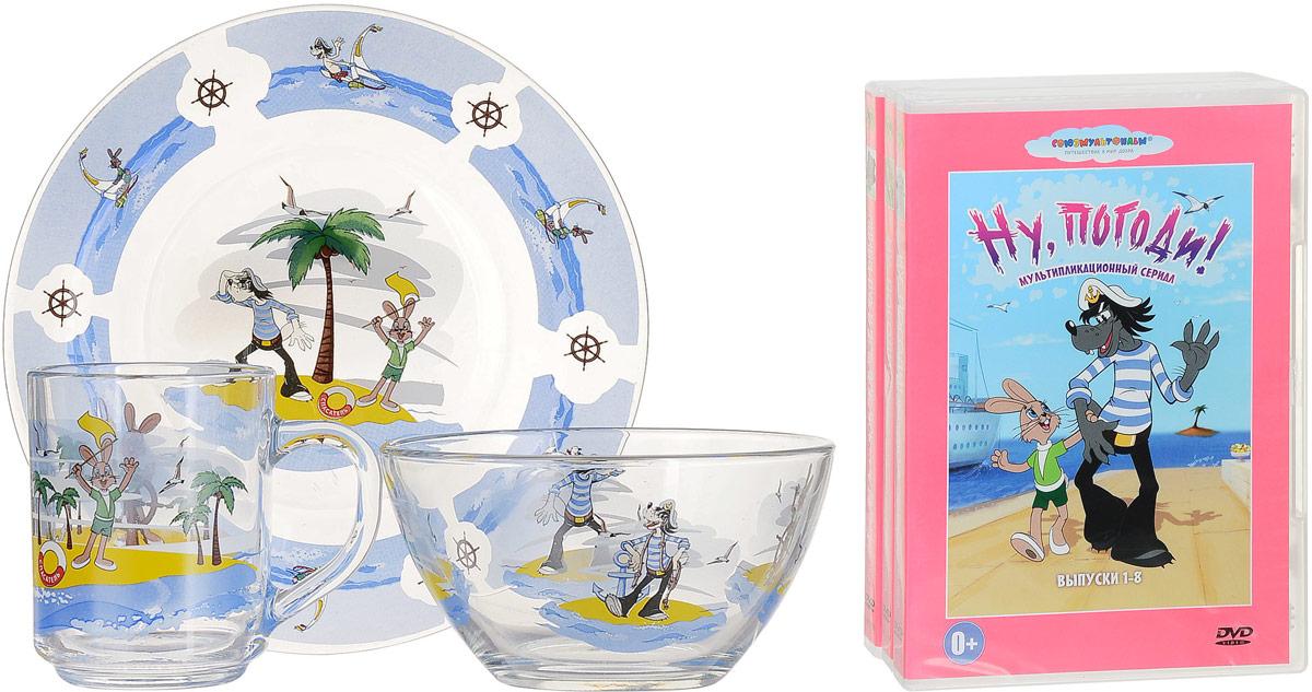 Союзмультфильм Набор детской посуды Ну, Погоди 3 предмета (стекло) + 3 DVD4690452049137Набор детской посуды Ну, Погоди! порадует любого маленького поклонника старыхсоветских мультфильмов. Набор включает в себя тарелку, салатник и кружку. Посуда выполнена из бесцветногонатрий-кальций-силикатного стекла, окрашена безопасными красками, которые не сотрутся и прослужат вамочень долго. Посуду украшает изображение любимых героев мультфильма Ну, Погоди!. Приборынельзяиспользовать в духовке и на открытом огне. Объем кружки 200 мл, диаметр салатника 13 см, диаметр тарелки 20 см. Детская посуда разработана специально для малышей, она удобная и безопасна. Привычная еда станетвкуснее иприятнее, если процесс кормления сопровождать игрой и сказками о любимых героях. Красочная посуда - залогхорошего настроения и аппетита вашего малыша! В набор входят 3 DVD, содержащие сборники известных советских мультфильмов: DVD 1. Винни Пух и все, все, все.... DVD 2. Ну, Погоди! Выпуски 1-8. DVD 3. Ну, Погоди! Выпуски 9-16.