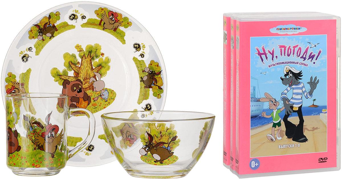 Союзмультфильм Набор детской посуды Винни Пух 3 предмета + 3 DVD мультики на флешке винни пух usb