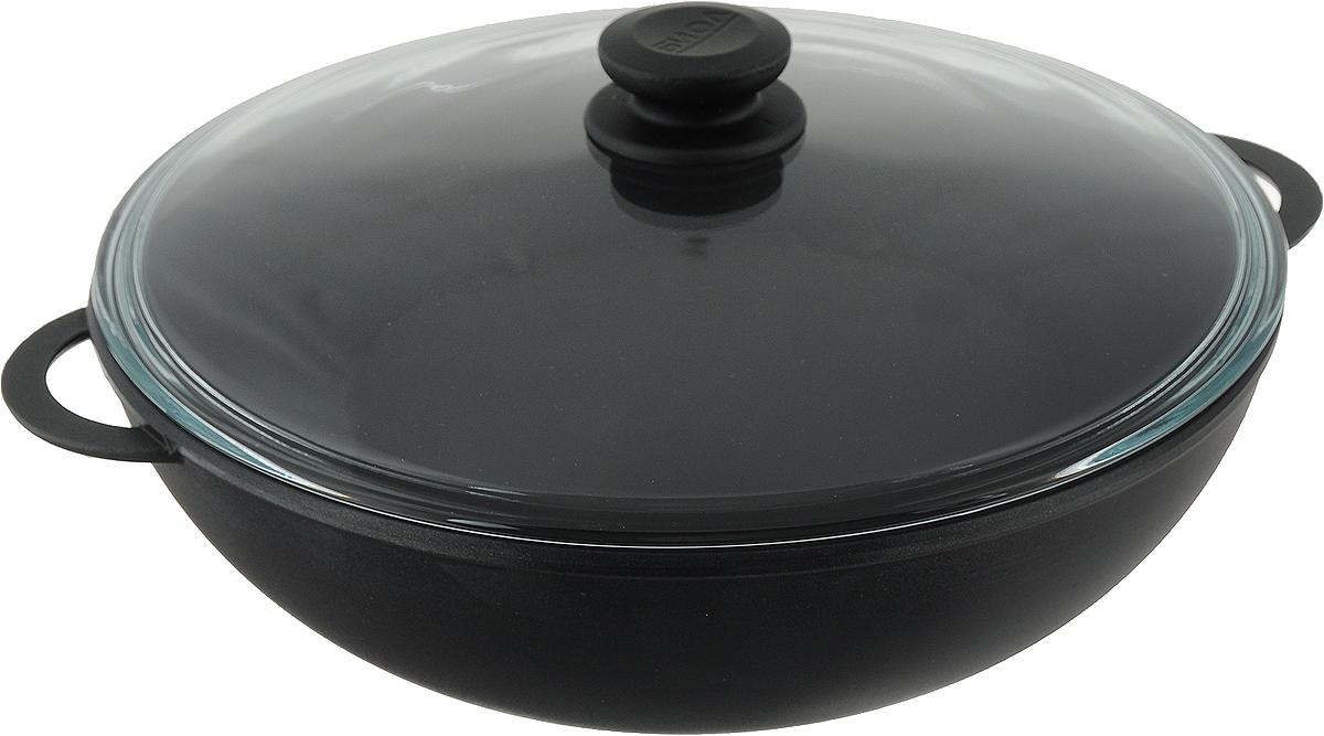 Сковорода Биол, с 2 ручками и крышкой. Диаметр 30 см3003ПССковорода Биол выполнена из литогоалюминия с утолщенным дном и оснащенаудобными ручками и стеклянной крышкой. Благодарявнутреннему антипригарному покрытию пища не пригорает и не прилипает кстенкам. Готовить можно с минимальным количеством масла и жиров. Гладкаяповерхность обеспечивает легкость ухода за посудой.Посуда равномерно распределяет тепло иобладает высокой устойчивостью к деформации,легкая и практичная в эксплуатации.Подходит для использования на электрических,газовых и стеклокерамических плитах. Не подходит для индукционных плит.Можно мыть в посудомоечной машине. Диаметр сковороды: 30 см.Высота стенки: 10 см.