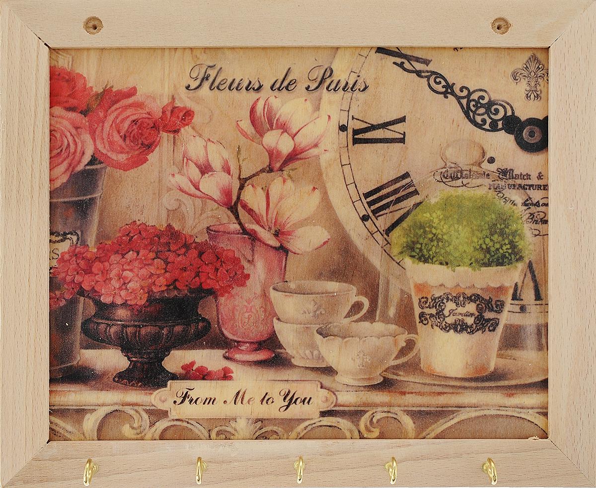 Вешалка GiftnHome Парижские цветы, с 5 крючками, 20 х 25 смTH-Fleurs_5 крючковВешалка GiftnHome Парижские цветы в стиле Art-Casual изготовлена из бука в комбинации с модными цветными принтами на корпусе. Вешалка снабжена 5 металлическими крючками для подвешивания аксессуаров, полотенец, прихваток и другого текстиля. Это изделие больше, чем просто вешалка, оно несет интерьерное решение, задает настроение и стиль на вашей кухне, столовой или дачной веранде. Art-Casual значит буквально повседневное искусство. Это новый стиль предложения обычных домашних аксессуаров в качестве элементов, задающих стиль и шарм окружающего пространства. Уникальное сочетание привычной функциональности и декоративной, интерьерной функции - это актуальная, современная тенденция от прогрессивных производителей товаров для дома.