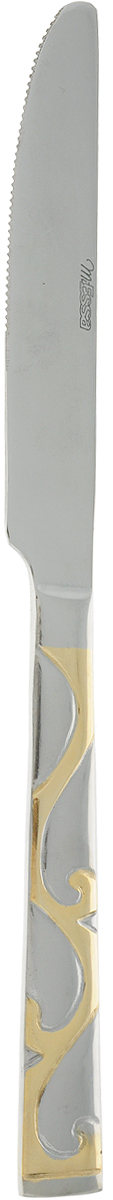 Нож MiEssa Palermo Gold. MPAG-120K/h1016129Столовый нож MiEssa Palermo Gold выполнен из нержавеющей стали. Благодаря этому, отличается прочностью на изгиб. Заточка позволит вам разрезать бифштекс, брокколи, рыбу и другие продукты, готовые к употреблению.