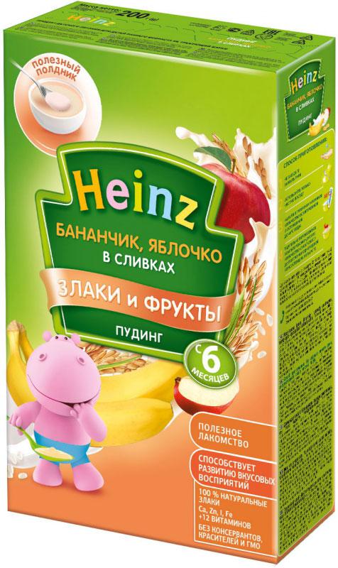Heinz пудинг бананчик с яблочком в сливках, с 6 месяцев, 200 г каша молочная semper рисовая с бананом с 6 мес 200 г