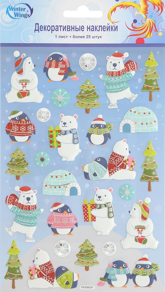 Наклейка декоративная Winter Wings Новогодние герои, 14 х 21 см. N09378 интерьер и декор
