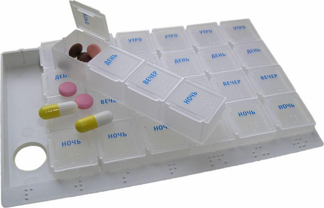 Ruges Контейнер для таблеток Ассистент, 17,5 х 11,5 х 2 смZ-33Таблетки или витамины, когда их назначают принимать долго, много и в разное время суток, это существенно усложняет жизнь. Стресс от стремления «ничего не забыть» лечению точно не помогает. Контейнер для таблеток «АССИСТЕНТ» - 7 легких пластиковых пеналов с отделениями Утро, День, Вечер, Ночь, позволит упорядочить прием курса лекарств на всю неделю. Контейнер для таблеток «АССИСТЕНТ» удобен тем, что вы можете сразу подготовить медикаменты на всю неделю, а носить с собой только пенал на один день. С помощью контейнера «АССИСТЕНТ» вам легко будет позаботится о детях и стареющих родителях.