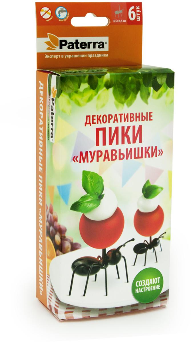 Пики для канапе Paterra Муравьишки, цвет: черный, 6 шт пики для канапе paterra торжество 30 шт