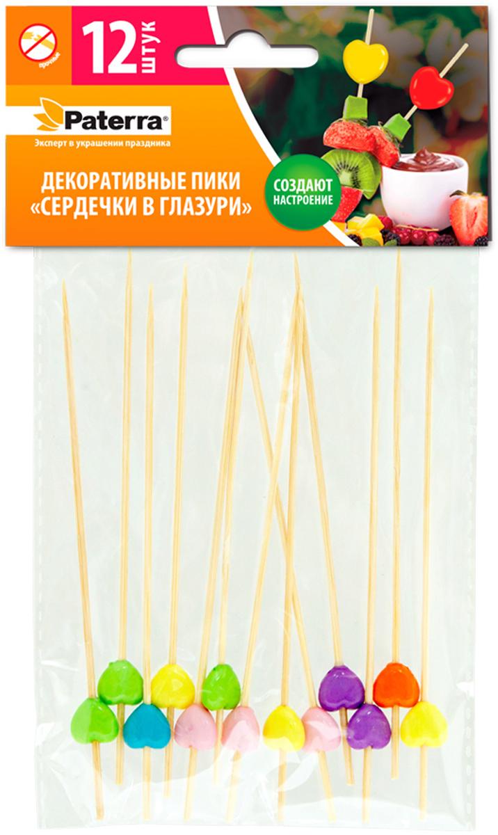 Пики для канапе Paterra Сердечки в глазури, 12 шт пики для канапе paterra торжество 30 шт