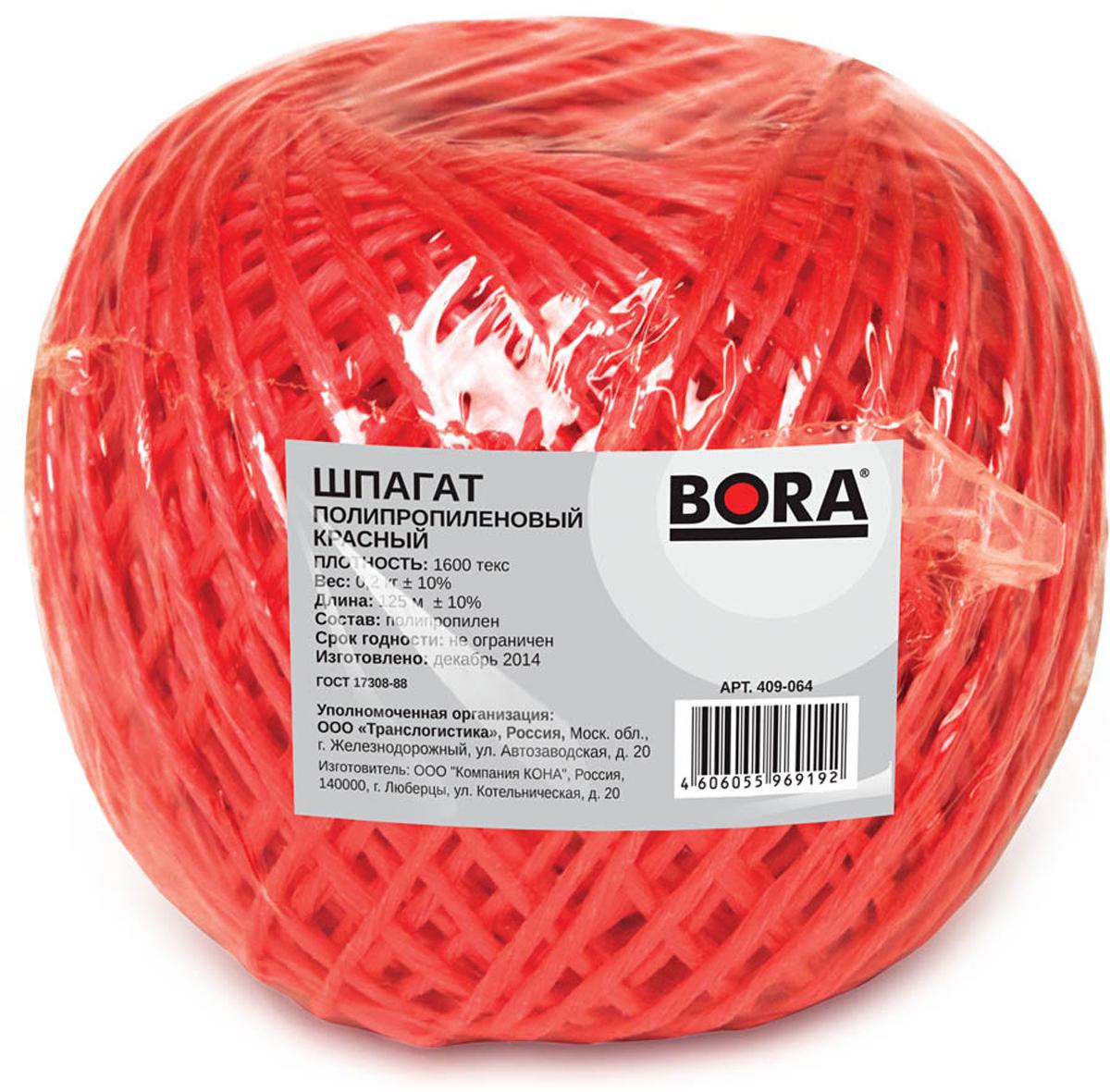 Шпагат Aviora, цвет: красный, 1600 текс, 125 м409-064Шпагат 125 метров - это сверхпрочная полипропиленовая веревка общего назначения, которая отличается стойкостью к температурному воздействию, гниению и влаге. Отсутствие сердечника обеспечивает минимальное относительное удлинение под нагрузкой. Универсальный упаковочно-обвязочный материал.