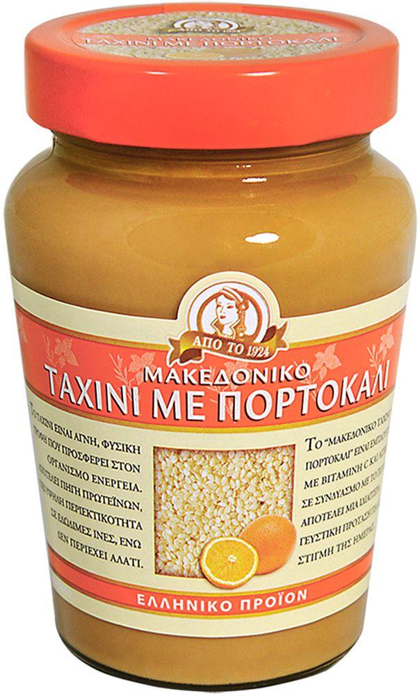 Macedonian Tahini Паста тахини кунжутная с апельсином, 350 г18045Кунжутная, или сезамовая паста Тахини - традиционный натуральный продукт восточной (арабской, еврейской, греческой и другой) кухни. Получают ее путем размалывания поджаренных зерен сезама (кунжута). В результате получается густая, но нежная, насыщенно однородная паста с мягкой кремовой структурой. По консистенции напоминает арахисовое масло. На Востоке она является необходимым компонентом ко многим блюдам и салатам. Тахинная масса используется для приготовления многих восточных сладостей, в том числе и одной из самых известных - халвы. В сочетании с другими продуктами паста Тахини заставляет вкус блюда звучать совершенно по-новому, одновременно облагораживая его аромат. Вот почему на ее основе делается так много соусов и подливок. В Греции и на Кипре - кипрские пирожки с Тахини тахина-пита особенно популярны во время Великого Поста. Часто в Тахини добавляют оливковое масло, лимонный сок, чеснок, молотый кумин, красный перец, петрушку и используют в качестве подливки или просто подают с питой или хлебом.Это идеальное и полноценное питание, которое укрепляет здоровье, сердце, мозг.Прекрасный источник полезных витаминов т.к.: витамин B1, омега-3 и 3,4 мг омега-6, кальция, железа, меди и фосфора, цинка и минеральных веществ. Поможет наладить пищеварение, помогает при угревой сыпи, предотвращает выпадение волос.