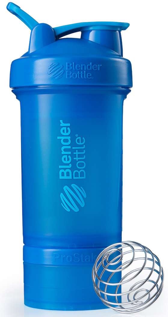 Шейкер спортивный BlenderBottle ProStak Full Color, с контейнером, цвет: голубой, 650 млBB-PRSK-FTEABlenderBottle ProStak - это шейкер с уникальной на сегодняшний день системой хранения, адаптируемой к любимымвашим потребностям.- шейкер + гибкая система контейнеров Twist'nLock (100 мл, 150 мл, 250 мл*, контейнер для таблеток - в любыхколичествах и комбинациях**)- независимая система контейнеров- запатентованная петля для удобства транспортировки- лучшая технология смешивания благодаря шарику-венчику BlenderBall- 10 стильных расцветок.Качественные материалы не содержат бисфенол (BPA) и фталаты, благодаря чему шейкер абсолютно безопасен дляздоровья. Шейкер герметично закрывается и не допускает протекания при переноске в сумке. Шарик-венчик BlenderBallс легкостью смешивает даже самые плотные ингредиенты, а широкое горлышко делает питье комфортным. Гибкая система контейнеров позволяет использовать любые комбинации для получения необходимого объема, авозможность использовать контейнеры Expansion Pak как вместе, так и отдельно от шейкера позволит взять с собойвсе, что нужно даже при ограниченном объеме вашей сумки.Уникальная система Все-в-Одном!* Экстра-большой контейнер 250 мл докупается отдельно в составе набора контейнеров ProStak Expansion Pak** Благодаря системе Twist'n Lock вы можете собрать нужную вам комбинацию контейнеров. Любые размеры илюбое количество контейнеров. Соберите свой уникальный шейкер!Как повысить эффективность тренировок с помощью спортивного питания? Статья OZON Гид