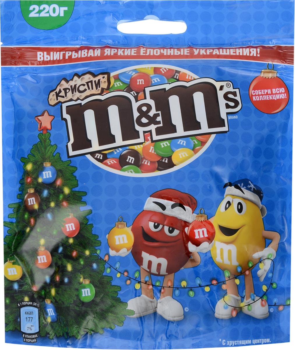 M&M's Криспи драже с хрустящим центром, 220 г конфитрейд disney драже с игрушкой проектор 8 г