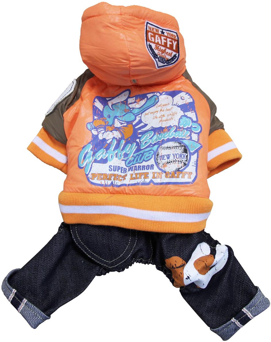 Костюм для собак Gaffy Pet Baseball, унисекс, цвет: оранжевый, синий. Размер L11001 LКостюм для собак Gaffy Pet Baseball выполнен в современном актуальном стиле. Цельный костюм состоит из 2-х частей: синие джинсы и оранжевый пуховик.Модель имеет тщательно продуманный дизайн и модное сочетание цветов и фактур. Интересные нашивки, яркий принт на спине на тему бейсбола. Контрастные коричневые рукава.Джинсы на кнопочках отстегиваются, можно использовать только куртку.Дополнительно комбинезон снабжен резинками на рукавах и штанинах для лучшей защиты от снега и холода. Фиксируется на животе металлическими кнопками. Обхват шеи: 30 см.Обхват груди: 50 см.Длина спины: 34 см.Одежда для собак: нужна ли она и как её выбрать. Статья OZON Гид