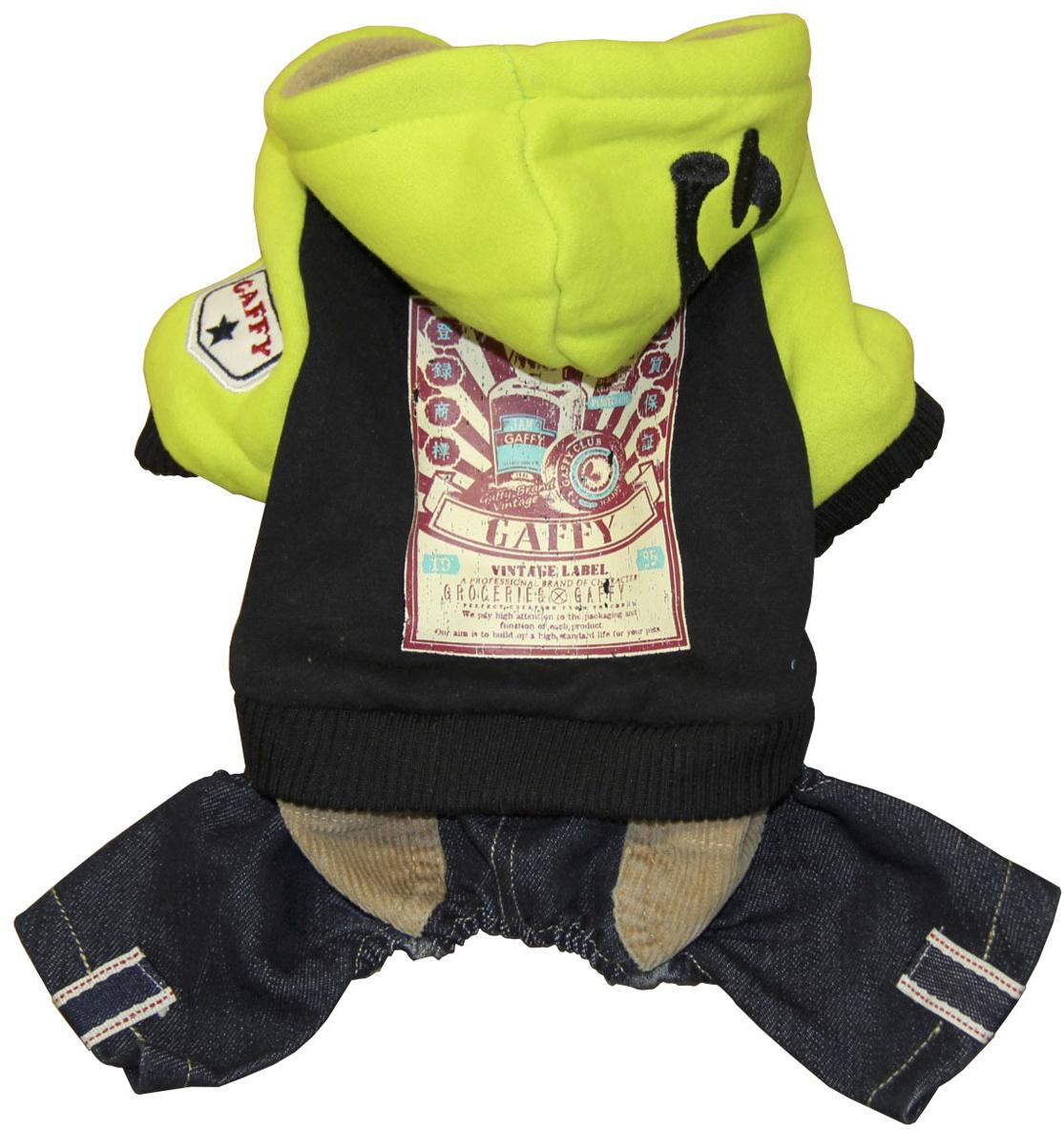 Костюм для собак Gaffy Pet Vintage Store, унисекс, цвет: салатовый, черный. Размер XS11003 XSКостюм для собак Gaffy Pet Vintage Store имеет актуальное сочетание цветов и фактур. Модель дополнена стильным рисунком в винтажном стиле.Цельный костюм состоит из 2-х частей: темно-синие джинсы, черная толстовка с салатовыми рукавами и капюшоном. Толстовка двух цветов дополнена синими джинсами с вельветовыми карманами.Модель фиксируется на животе металлическими кнопками. Обхват шеи: 20 см.Обхват груди: 35 см.Длина спины: 22 см.Одежда для собак: нужна ли она и как её выбрать. Статья OZON Гид