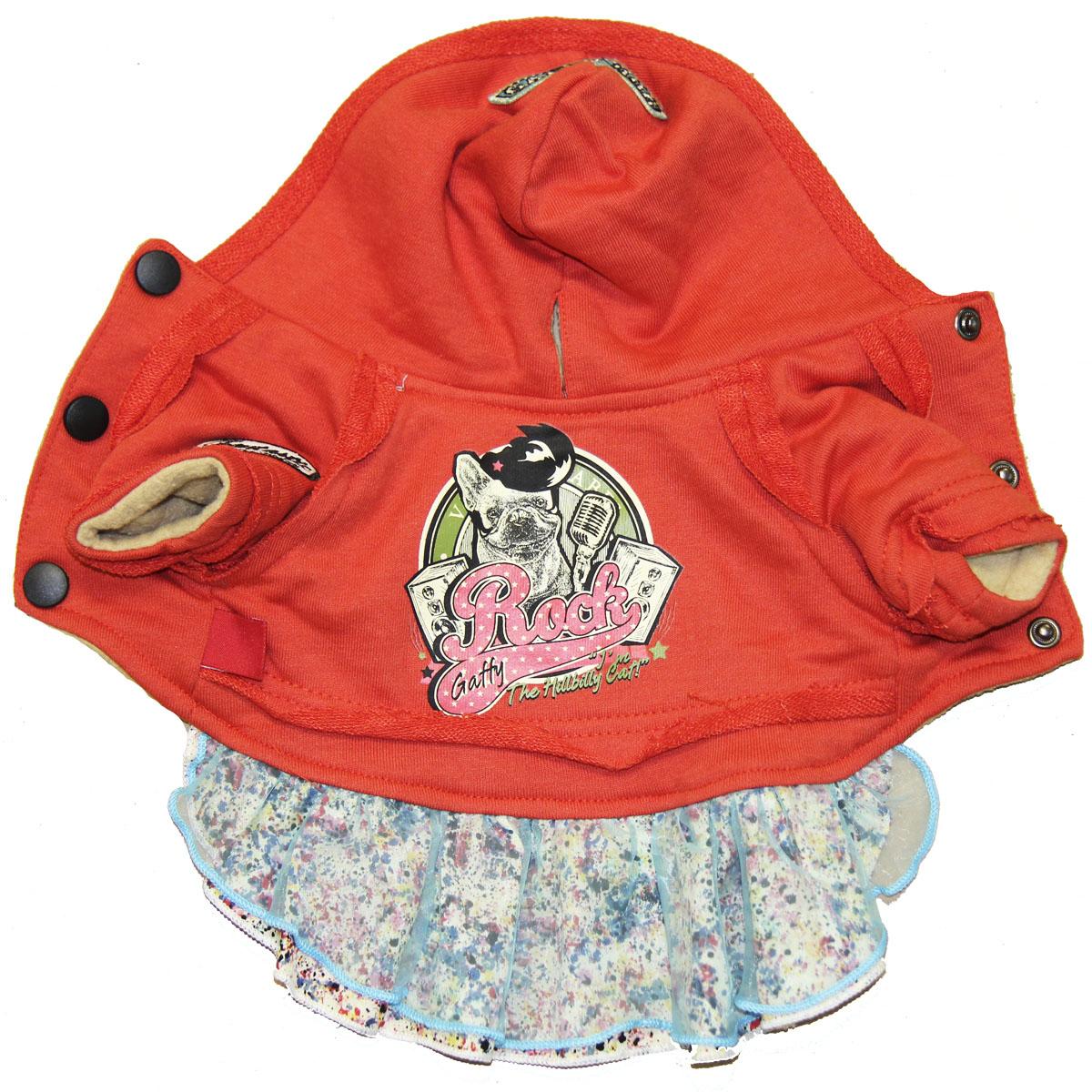 Костюм для собак Gaffy Pet Rock Baby, для девочки, цвет: красный. Размер M11004 MЦельный костюм для модных собачек Gaffy Pet Rock Baby состоит из 2-х частей: толстовка в стиле рок и юбка с ярким принтом. Нежная юбка выполнена из хлопка и органзы.Актуальный спортивный шик. Модная толстовка и романтичная юбка - тренд в мире моды.Модель фиксируется на животе металлическими кнопками.Обхват шеи: 26 см.Обхват груди: 45 см.Длина спины: 31 см.Одежда для собак: нужна ли она и как её выбрать. Статья OZON Гид