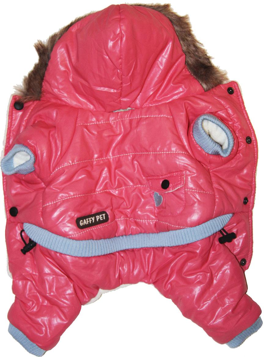 Комбинезон для собак Gaffy Pet Heart, зимний, для девочки, цвет: розовый. Размер XL11006 XLКомбинезон для собак Gaffy Pet Heart отлично подойдет на зиму. Ваш питомец будет самым стильным и тепло одетым на прогулке. Актуальный розовый цвет и благородный дизайн придутся по душе всем. Капюшон отделан мехом. На стыке капюшона и спинки есть отверстие для поводка. Живот почти полностью закрыт, кроме необходимых для прогулок отверстий. На животе комбинезон фиксируется с помощью кнопок, а в нижней части живота есть 2 ряда кнопок для того, чтобы комбинезон точно сел по фигуре.Дополнительно комбинезон снабжен резинками на рукавах и штанинах для лучшей защиты от снега и холода. Кроме того, в поясе есть дополнительная резинка с фиксатором для лучшего облегания.Данные модели комбинезонов с закрытым животом были запатентованы как полезная модель. Патент # 2014125392. Обхват шеи: 36 см.Обхват груди: 55 см.Длина спины: 40 см.Одежда для собак: нужна ли она и как её выбрать. Статья OZON Гид