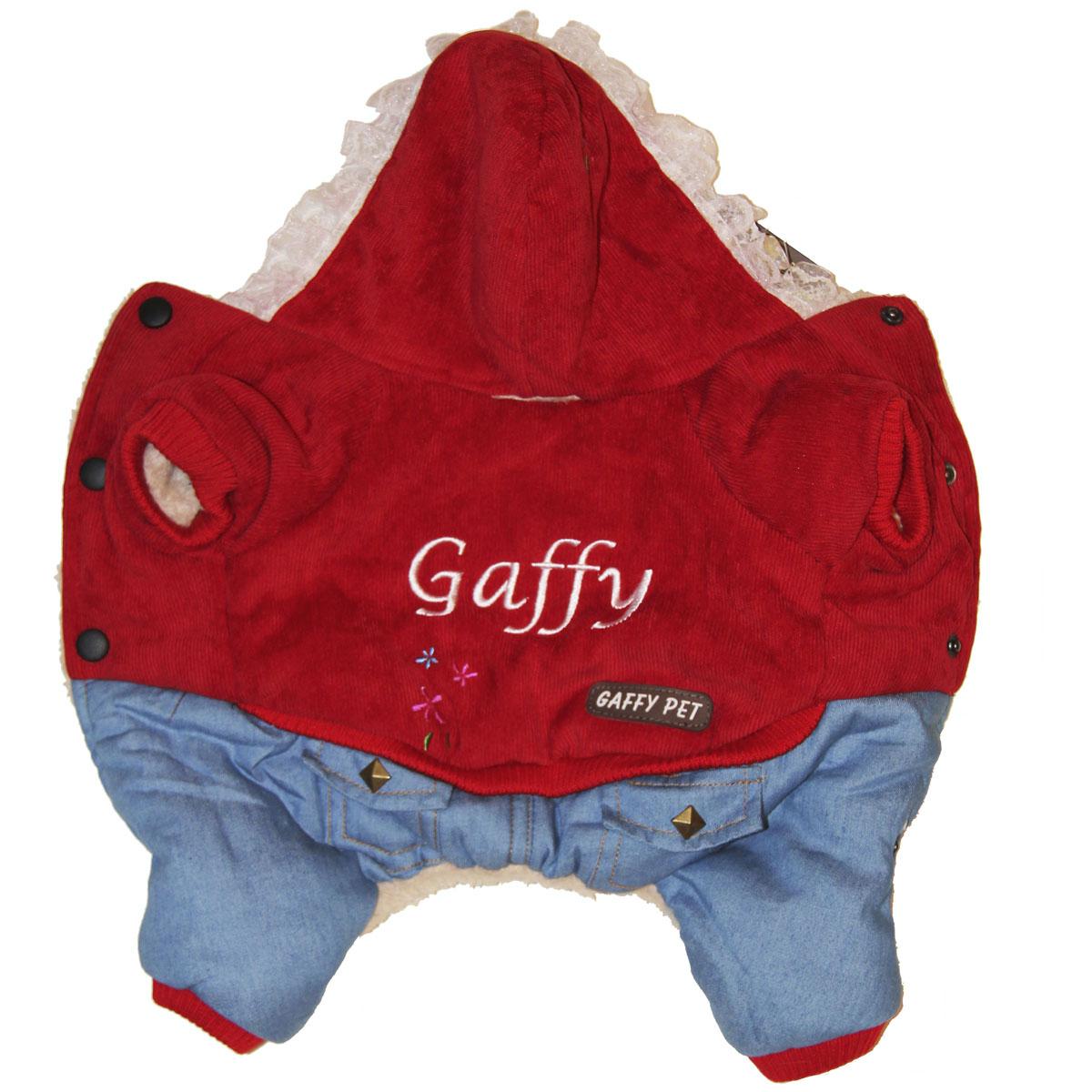 Комбинезон для собак Gaffy Pet Flower, зимний, для девочки, цвет: красный, голубой. Размер L11007 LКомбинезон для собак Gaffy Pet Flower отлично подойдет на зиму. Ваш питомец будет самым стильным и тепло одетым на прогулке. Все детали продуманы до мелочей. Капюшон отделан нежным кружевом. На стыке капюшона и спинки есть отверстие для поводка. Комбинезон внутри отделан теплым мехом для защиты от холода. Живот почти полностью закрыт, кроме необходимых для прогулок отверстий. На животе комбинезон фиксируется с помощью кнопок, а в нижней части живота есть 2 ряда кнопок для того, чтобы комбинезон точно сел по фигуре.Дополнительно комбинезон снабжен резинками на рукавах и штанинах для лучшей защиты от снега и холода. Интересная вышивка и оригинальные кнопки добавят собачке индивидуальности.Данные модели комбинезонов с закрытым животом были запатентованы как полезная модель. Патент # 2014125392.Обхват шеи: 30 см.Обхват груди: 50 см.Длина спины: 34 см.Одежда для собак: нужна ли она и как её выбрать. Статья OZON Гид