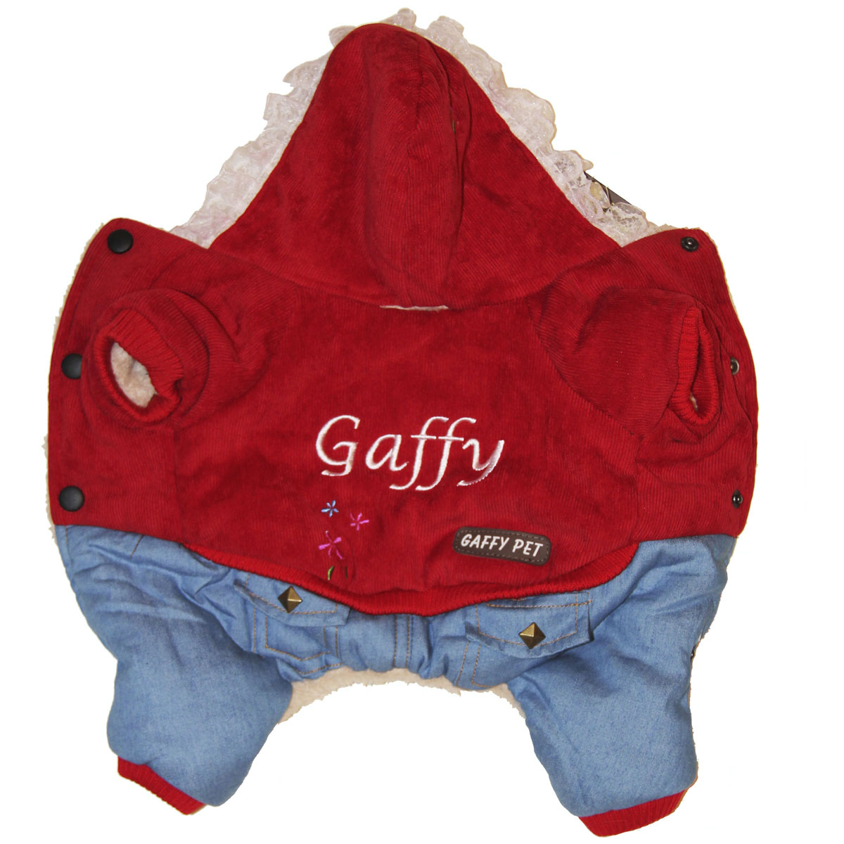 Комбинезон для собак Gaffy Pet Flower, зимний, для девочки, цвет: красный, голубой. Размер XS11007 XSКомбинезон для собак Gaffy Pet Flower отлично подойдет на зиму. Ваш питомец будет самым стильным и тепло одетым на прогулке. Все детали продуманы до мелочей. Капюшон отделан нежным кружевом. На стыке капюшона и спинки есть отверстие для поводка. Комбинезон внутри отделан теплым мехом для защиты от холода. Живот почти полностью закрыт, кроме необходимых для прогулок отверстий. На животе комбинезон фиксируется с помощью кнопок, а в нижней части живота есть 2 ряда кнопок для того, чтобы комбинезон точно сел по фигуре.Дополнительно комбинезон снабжен резинками на рукавах и штанинах для лучшей защиты от снега и холода. Интересная вышивка и оригинальные кнопки добавят собачке индивидуальности.Данные модели комбинезонов с закрытым животом были запатентованы как полезная модель. Патент # 2014125392.Обхват шеи: 20 см.Обхват груди: 35 см.Длина спины: 22 см.Одежда для собак: нужна ли она и как её выбрать. Статья OZON Гид