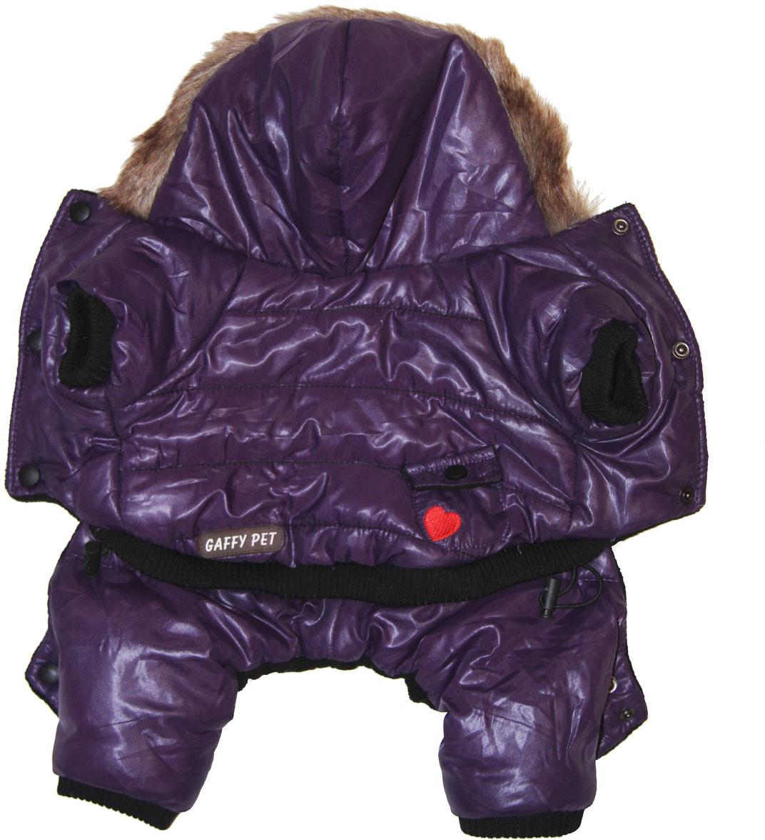 """Фото Комбинезон для собак Gaffy Pet """"Heart"""", зимний, для мальчика, цвет: фиолетовый. Размер XL"""