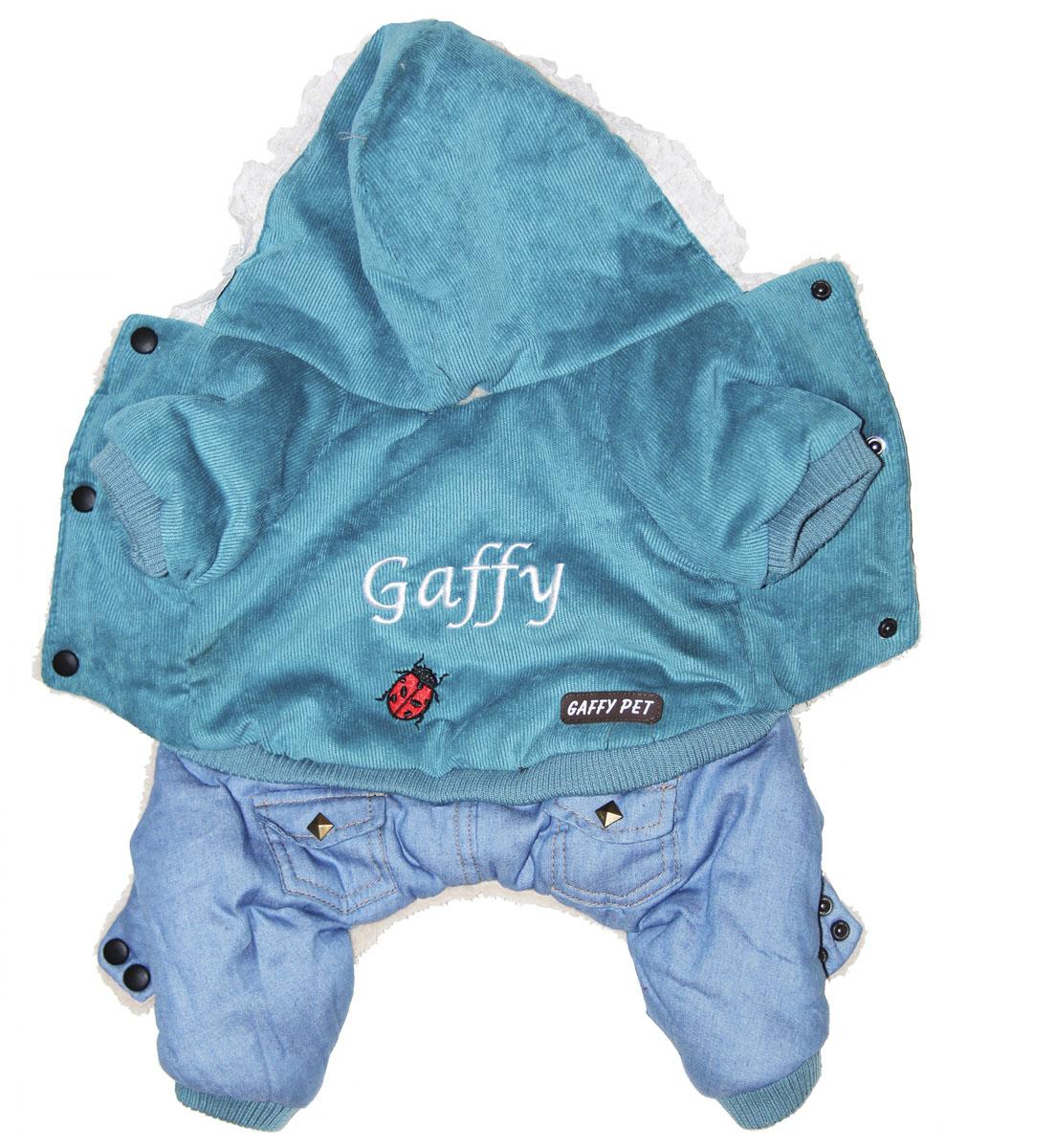 Комбинезон для собак Gaffy Pet Ladybird, зимний, для мальчика, цвет: голубой. Размер M11010 MКрасивая вельветовая курточка в сочетании с модным денимом Gaffy Pet Ladybird отлично подойдет на зиму.Все детали продуманы до мелочей. Капюшон отделан нежным кружевом. На стыке капюшона и спинки есть отверстие для поводка.Комбинезон внутри отделан теплым мехом для защиты от холода. Живот почти полностью закрыт, кроме необходимых для прогулок отверстий.На животе комбинезон фиксируется с помощью кнопок, а в нижней части живота есть 2 ряда кнопок для того, чтобы комбинезон точно сел по фигуре.Дополнительно комбинезон снабжен резинками на рукавах и штанинах для лучшей защиты от снега и холода.Затейливая вышивка и оригинальные кнопки добавят собачке индивидуальности.Данные модели комбинезонов с закрытым животом были запатентованы как полезная модель. Патент # 2014125392. Обхват шеи: 26 см.Обхват груди: 45 см.Длина спины: 31 см.Одежда для собак: нужна ли она и как её выбрать. Статья OZON Гид