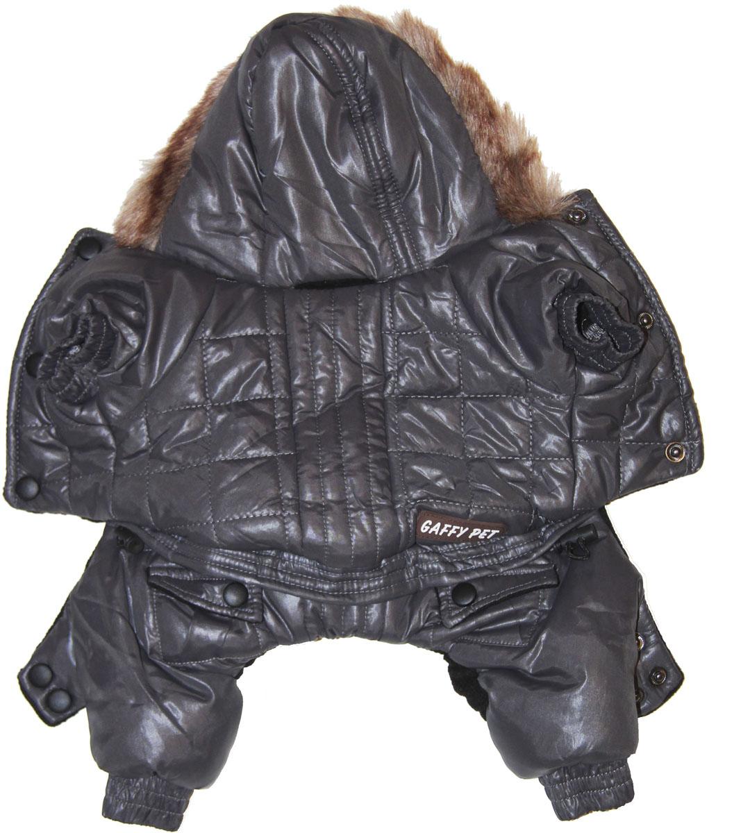 Комбинезон для собак Gaffy Pet Charcoal, зимний, для мальчика, цвет: черный. Размер M11012 MКомбинезон для собак Gaffy Pet Charcoal отлично подойдет на зиму. Капюшон отделан мехом. На стыке капюшона и спинки есть отверстие для поводка.Живот почти полностью закрыт, кроме необходимых для прогулок отверстий.На животе комбинезон фиксируется с помощью кнопок, а в нижней части живота есть 2 ряда кнопок для того, чтобы комбинезон точно сел по фигуре.Дополнительно комбинезон снабжен резинками на рукавах и штанинах для лучшей защиты от снега и холода. Кроме того, в поясе есть дополнительная резинка с фиксатором для лучшего облегания.Данные модели комбинезонов с закрытым животом были запатентованы как полезная модель. Патент # 2014125392.Обхват шеи: 26 см.Обхват груди: 45 см.Длина спины: 31 см.Одежда для собак: нужна ли она и как её выбрать. Статья OZON Гид