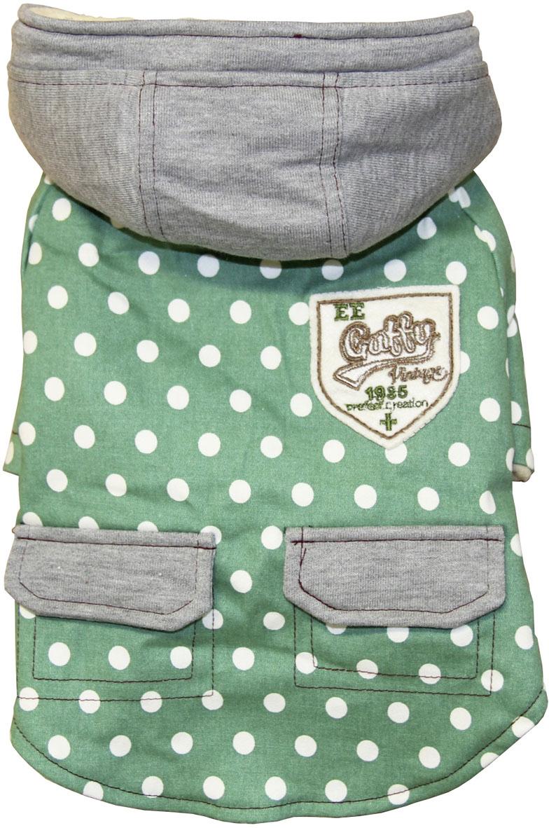 Пальто для собак Gaffy Pet Cute Dots, унисекс, цвет: зеленый. Размер M куртка для собак gaffy pet polka dot унисекс цвет желтый размер l