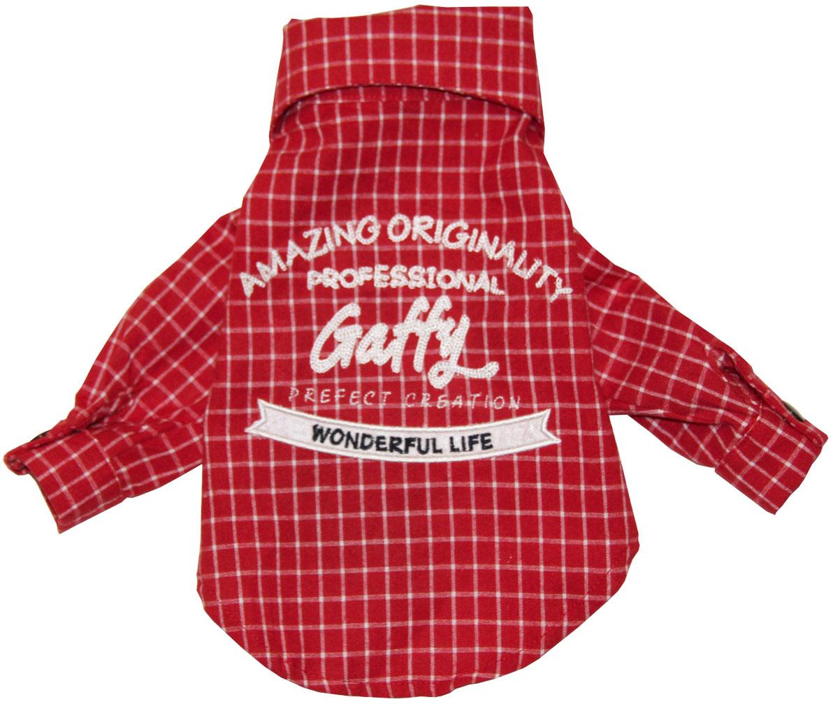 """Фото Рубашка для собак Gaffy Pet """"Red Plaid"""", унисекс, цвет: красный. Размер M"""