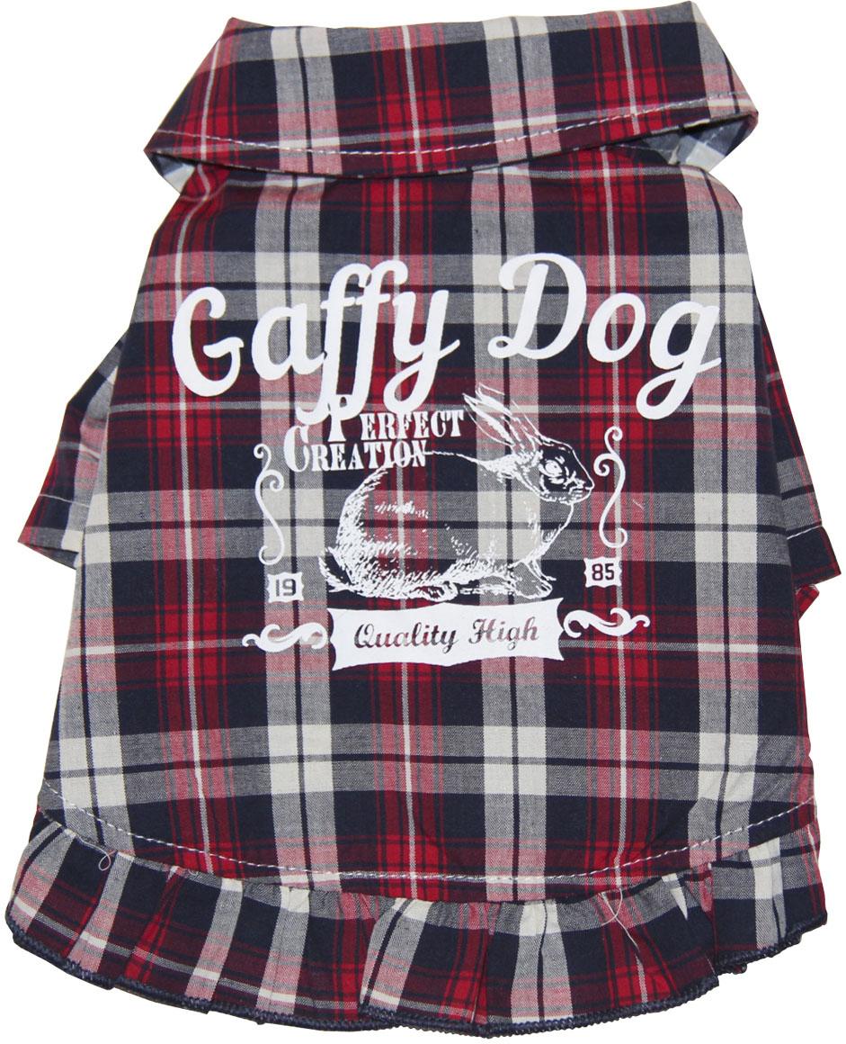 """Фото Рубашка для собак Gaffy Pet """"Cute Plaid"""", унисекс, цвет: красный, черный. Размер M"""