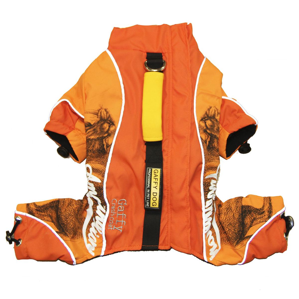 Дождевик для собак Gaffy Pet Pro, унисекс, цвет: оранжевый. Размер 4XL11026 XXXXLС дождевиком для собак Gaffy Pet Pro теперь прогулка возможна при любой погоде.На животе есть специальные резинки для лучшей посадки. Все рукава снабжены эластичными лентами с фиксаторами для того, чтобы ни ветер, ни влага не попали внутрь.Дождевик легко надевается и застегивается на молнию на спине. Молния также закрыта водонепроницаемой планкой из нейлона.На спине вшита специальная лента, где закреплено кольцо для поводка, имеется ручка для переноски, а также вторая дополнительная ручка-водилка.Дождевик незаменим при активных прогулках и походах. Да и просто очень удобно использовать для переноски.Все дождевики снабжены светоотражающими элементами. Даже в сумерки и ночью вы легко найдете свою собаку при помощи света от фар или фонарей.Модель имеет интересный принт и яркую расцветку. Подойдет всем собакам.Данные модели дождевиков были запатентованы как полезная модель. Патент # 2014125392.Обхват шеи: 55 см.Обхват груди: 112 см.Длина спины: 72 см.Одежда для собак: нужна ли она и как её выбрать. Статья OZON Гид