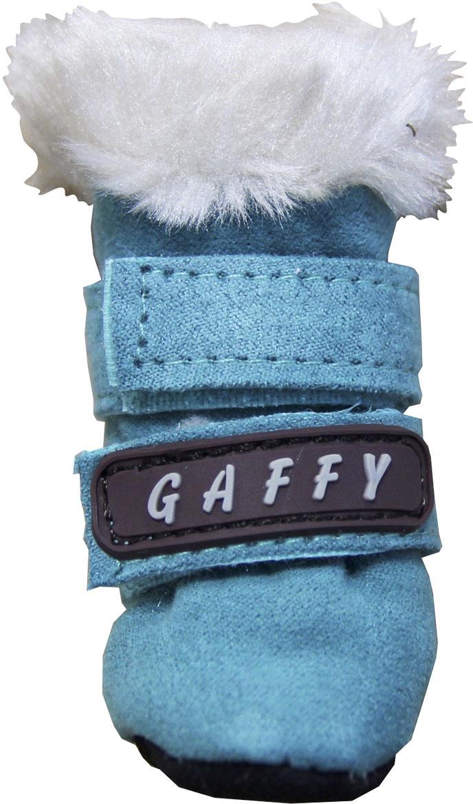 Ботинки для собак Gaffy Pet, цвет: бирюзовый. Размер M11028 БИРЮЗА MУдобные и теплые ботинки Gaffy Pet порадуют вашу собачку. Ботиночки выполнены из мягкой замши, снаружи и внутри - искусственный мех. Стелька также на меху. Ботинок надежно фиксируется двумя липучками.В отличие от обуви на привычной твердой подошве, обувь на мягкой не сковывает движения и не скользит. Собака чувствует себя уверенно и комфортно.Подошва не ощутима на лапке, лапы не разъезжаются, и бегать удобно. Как в тапочках! Длина лапы: 4 см. Ширина лапы: 3,5 см.