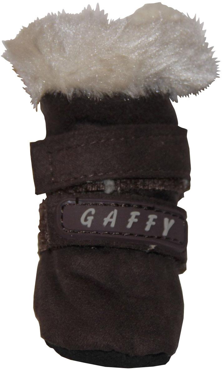 Ботинки для собак Gaffy Pet, цвет: коричневый. Размер XS11028 КОРИЧНЕВЫЙ XSУдобные и теплые ботинки Gaffy Pet порадуют вашу собачку. Ботиночки выполнены из мягкой замши, снаружи и внутри - искусственный мех. Стелька также на меху. Ботинок надежно фиксируется двумя липучками.В отличие от обуви на привычной твердой подошве, обувь на мягкой не сковывает движения и не скользит. Собака чувствует себя уверенно и комфортно.Подошва не ощутима на лапке, лапы не разъезжаются, и бегать удобно. Как в тапочках! Длина лапы: 3 см. Ширина лапы: 3 см.