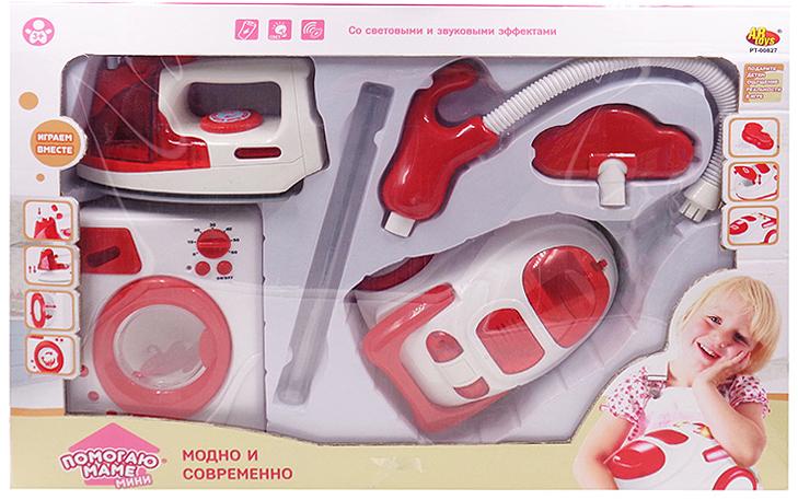 ABtoys Игровой набор для стирки глажки и уборки Помогаю Маме со световыми и звуковыми эффектами