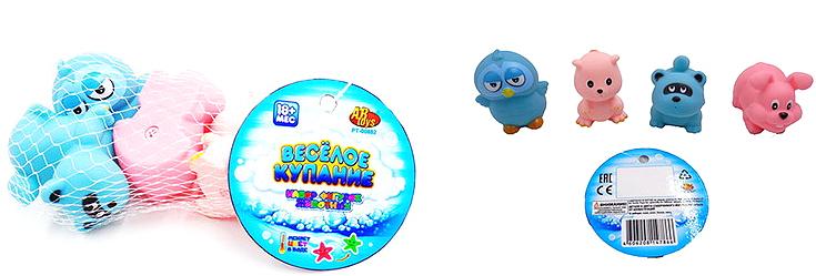 ABtoys Набор игрушек для ванной Веселое купание Животные 4 шт