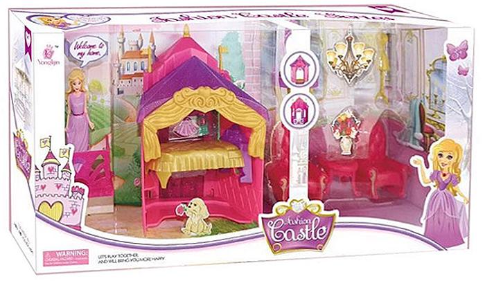 JUNnew Дом для кукол Замок цвет красный 13 предметов barneybuddy barneybuddy игрушки для ванны стикеры замок принцессы
