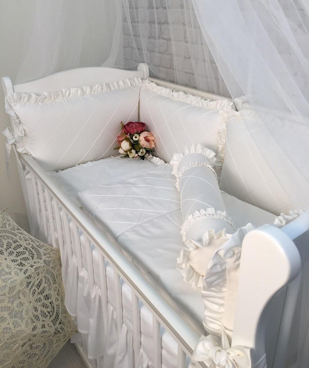 MARELE Комплект детского постельного белья в кроватку Белоснежный 12 предметов подушка валик ортопедическая торис бонтон сильверлайн с эффектом памяти цвет светло серый белый 40 х 10 х 18 см