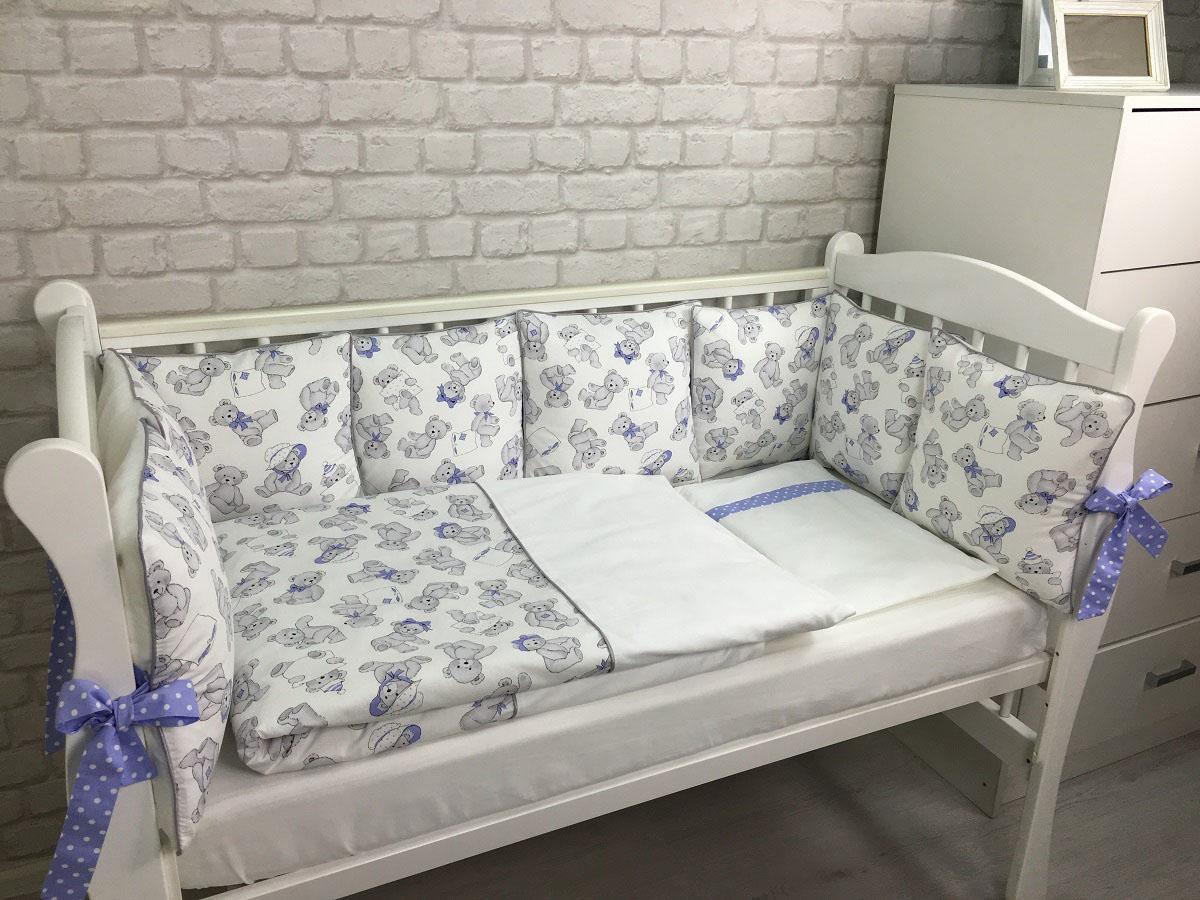 MARELE Комплект детского постельного белья в кроватку Мишки с голубыми бантиками 17 предметов пакеты для бутербродов you ll love 24 см х 17 см 100 шт