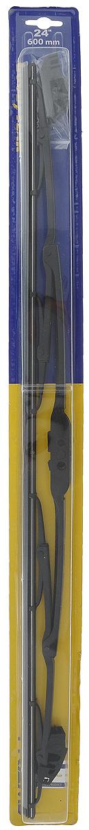 Щетка стеклоочистителя Goodyear Frameless, каркасная, №24, длина 60 см, 1 штGY000324Уникальная бескаркасная щетка стеклоочистителя Goodyear Frameless с системой крепления, подходит для 95% автомобилей Российского автопарка без использования переходников. Установкалегкая и доступна даже для ребенка. Морозостойкий аэродинамический спойлер обеспечивает плотное прилегание лезвия к стеклу и качественную очистку даже при высокой скорости.Каркас щетки усилен дополнительными направляющими из нержавеющей стали, которые фиксируют резинку и обеспечивают хорошую прижимную силу.Щетки имеют резиновое лезвие самого высокого класса Triple A, что гарантирует непревзойденный результат очистки стекол и долговечность их использования. Благодаря качественному резиновому лезвию щетки сохраняют превосходные чистящие свойства как в мороз (до -40 °С), так и в жару (выдерживает до +70 °С). Прекрасно выполняют свои функции, не оставляя полос и разводов. Применимость до 95% автомобилей Российского автопаркаМорозостойкий аэродинамический спойлерДополнительные направляющие из нержавеющей сталиРезиновое лезвие класса Triple A ВсесезонностьАнтивандальная упаковкаЗащита от подделки